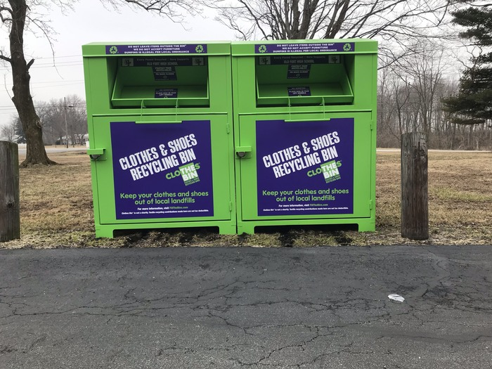 Recycling Bins located at Old Fort Schools.